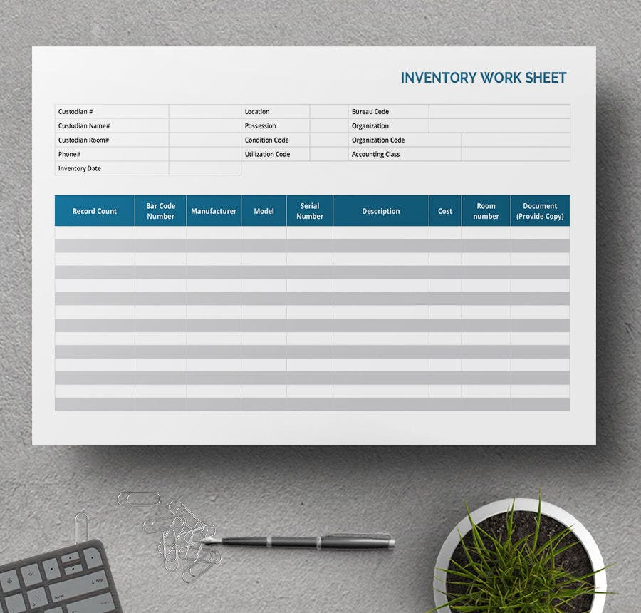5 Free Worksheet Templates Resume Budget Event – Inventory Worksheet