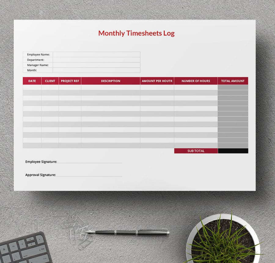 8 Free Time Sheet Templates Daily Monthly Weekly BiWeekly – Monthly Timesheet Template