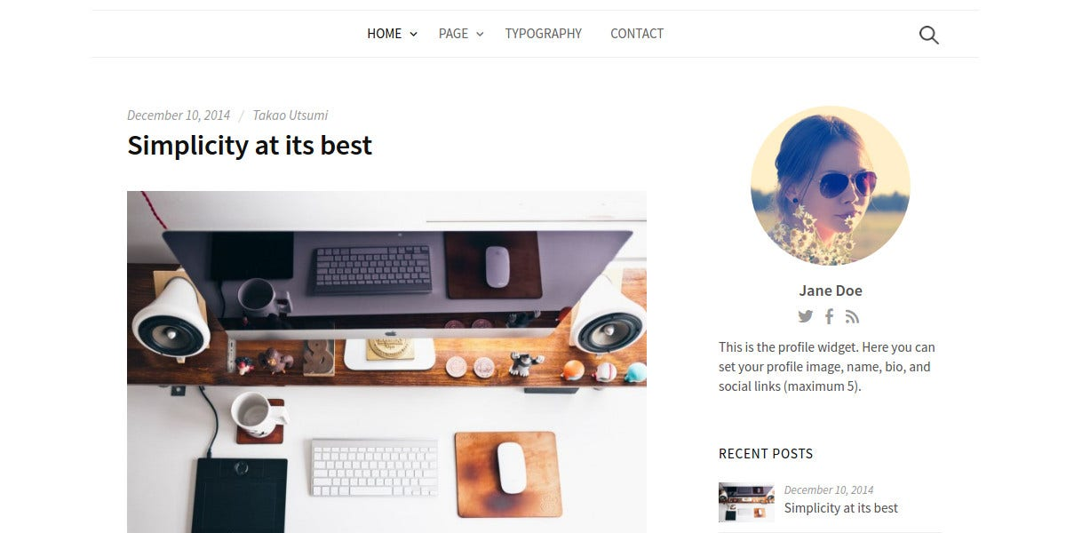 Minimal Typography WordPress Theme $69