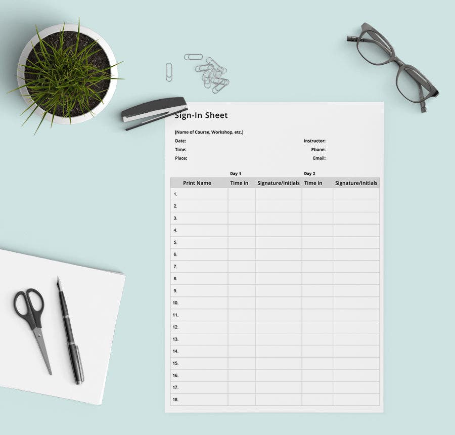 sign in sheet template