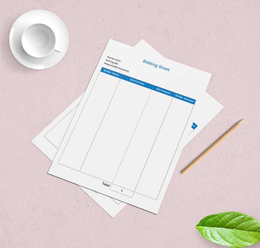bidding sheet template