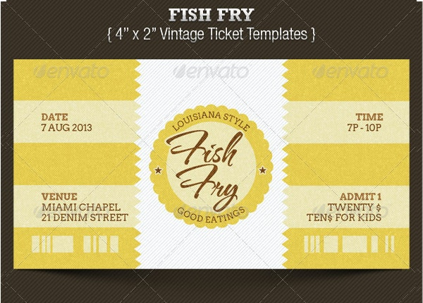 vintage fish fry ticket template