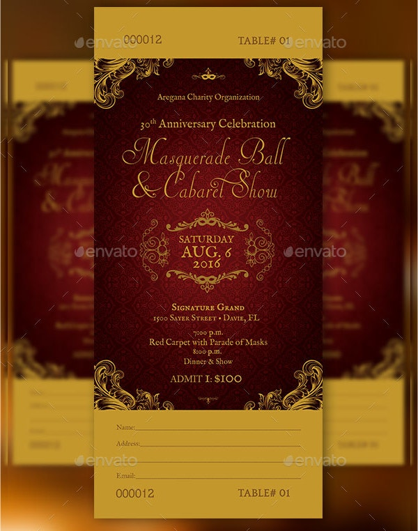 Masquerade Ball Ticket Template  Dinner Tickets Template