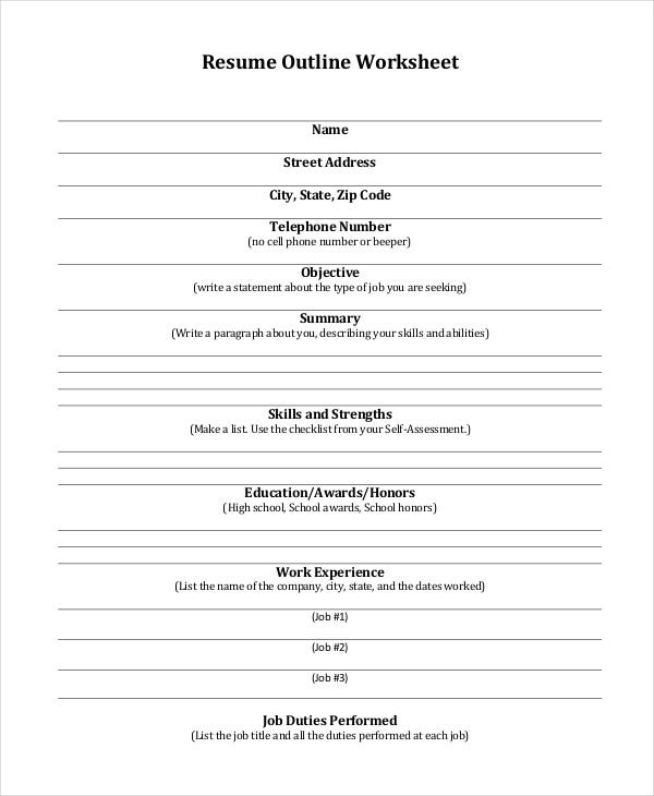 format of resume outline worksheet - Resume Outline Format