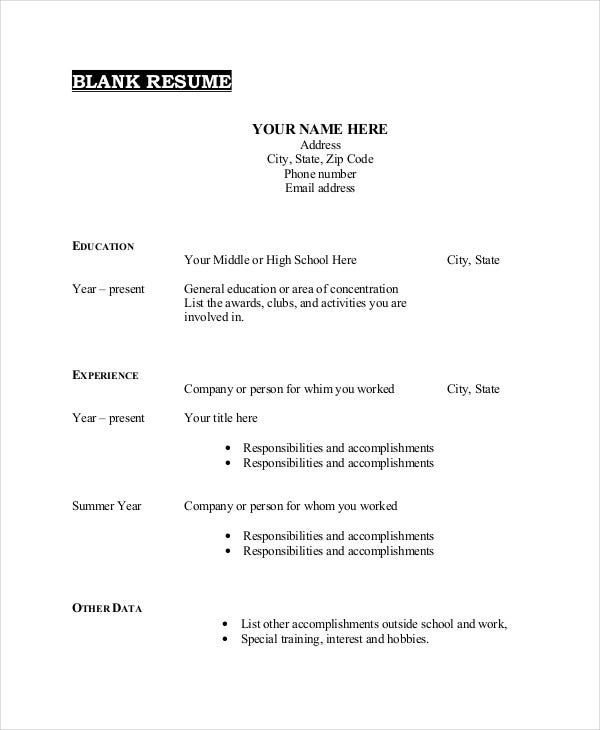 blank resume format template for highschool students word free download
