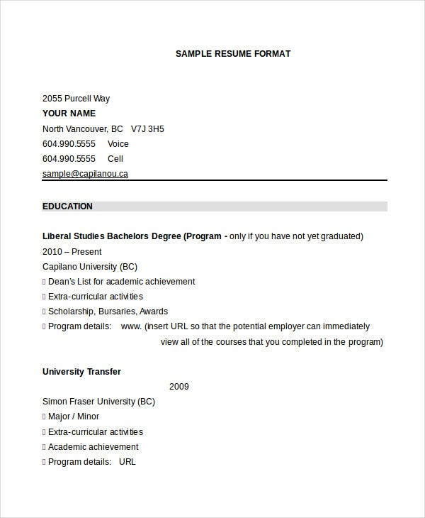 sample-graduate-resume-format