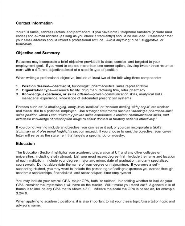 pharmacy resume format