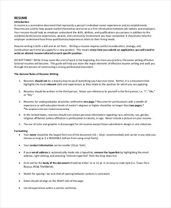 resume format 17 free word pdf documents download free - Professional Resume Format
