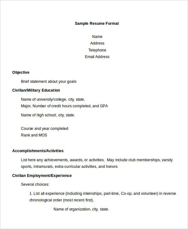 Sample Resume Format For Executive