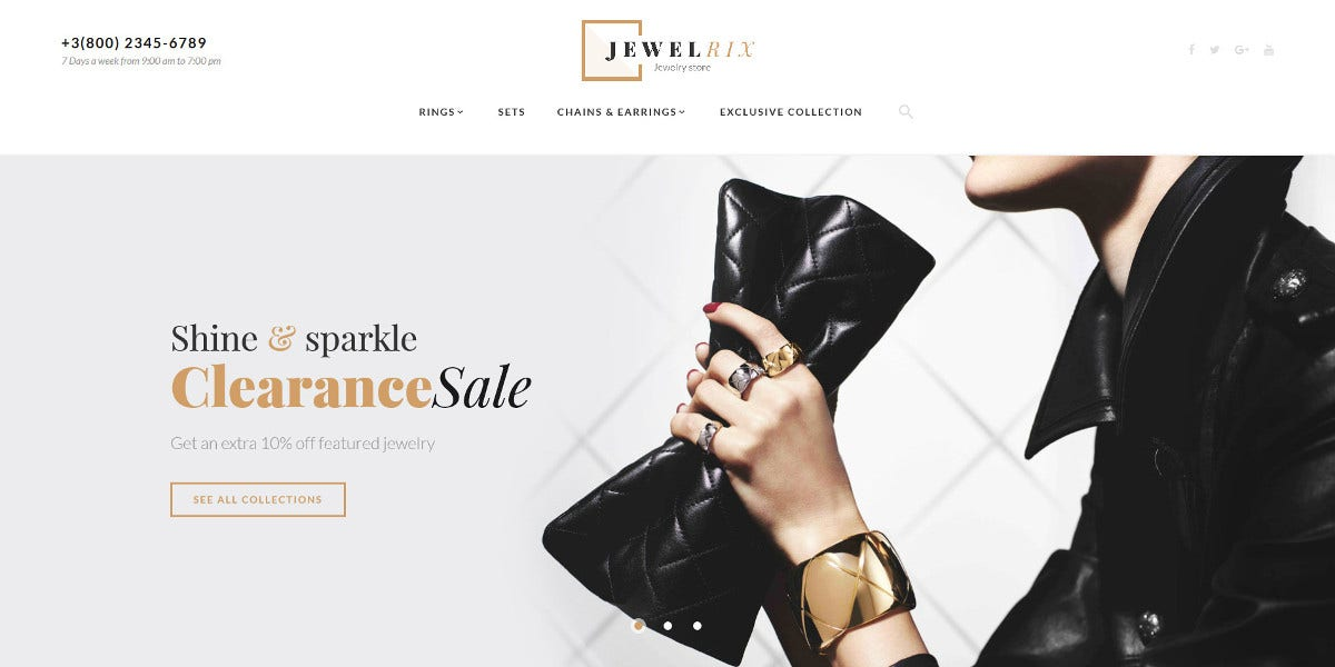 Jewelry Store Magento Website Theme $179