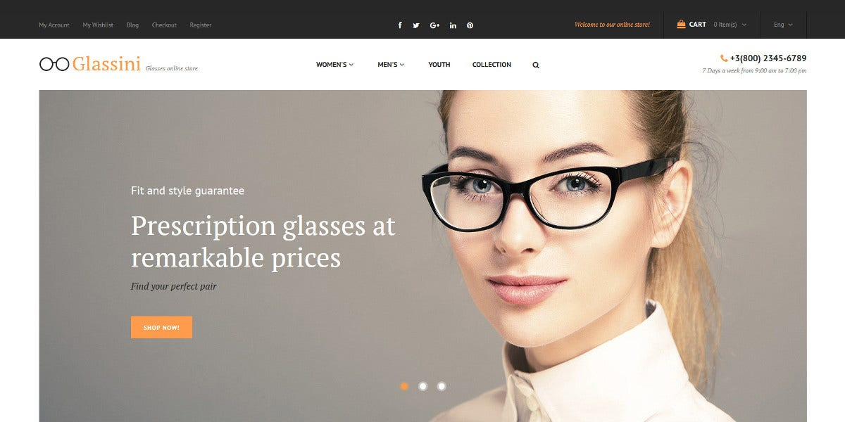 Sun Glasses Store Magento Website Theme $179