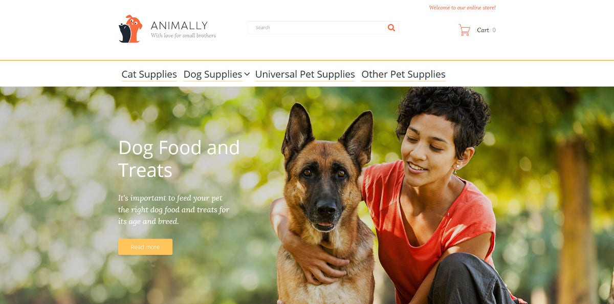 Animal Food Store Magento Website Theme $179