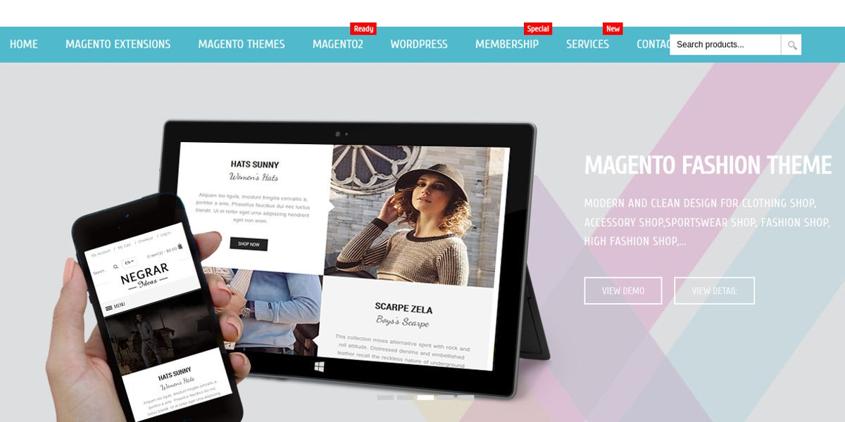 Magento Fashion Theme for Clothing Shop, Accessory Shop$59
