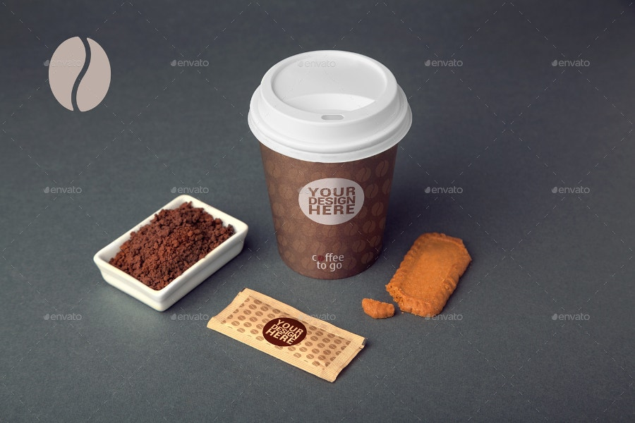 coffee cup mockup with biscits coffe powder