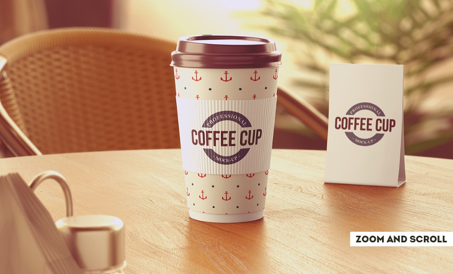 coffee cup mockup on dining table