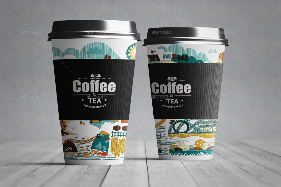 coffee cup mockup designed with paper
