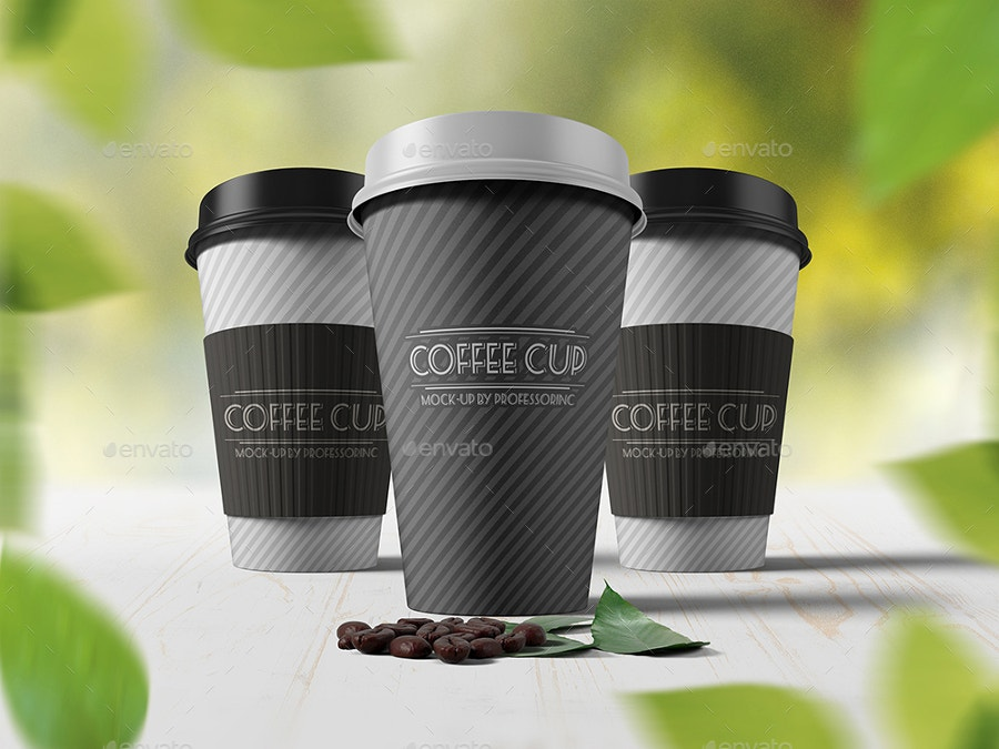 coffe cup mockups with leafs on background