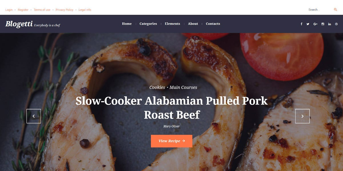 Tasty Food Restaurant Blog WordPress Website Theme $45