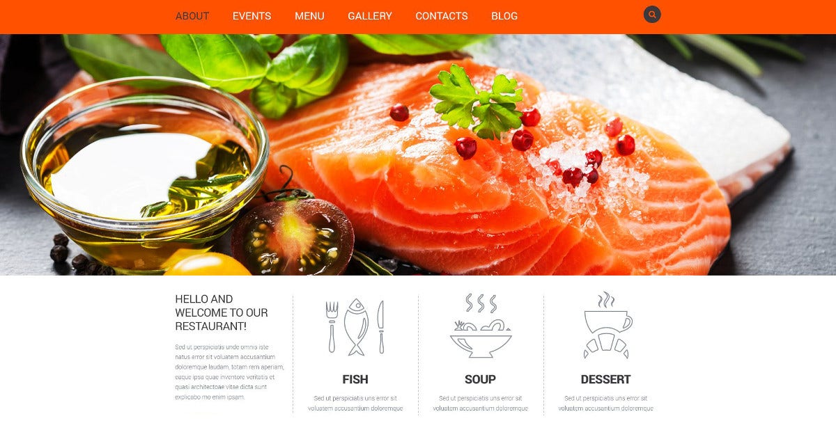 Delicious Food Restaurant Joomla Website Template $75