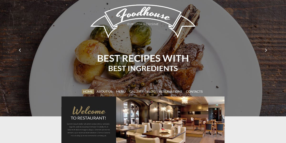 Cuisine & Restaurant WordPress Website Theme $75
