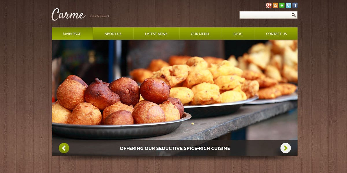Responsive Indian Restaurant Joomla Website Template $75