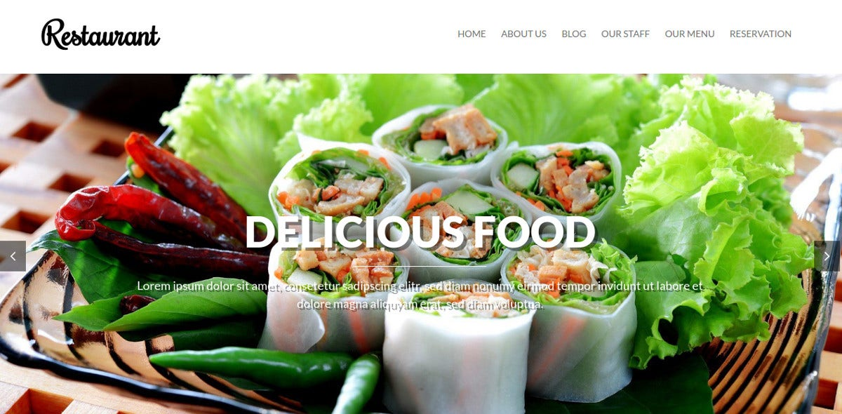 Free Online Restaurant WordPress Website Theme