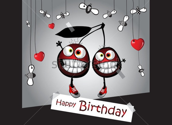 Happy Birthday Funny Card with Cherry