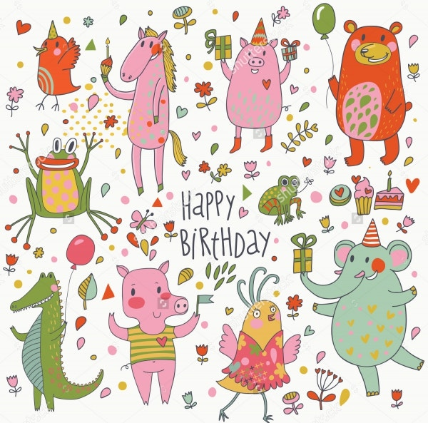 Funny Cartoon Vector Set Birthday Card