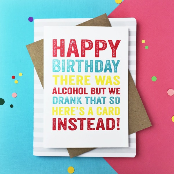 Funny Alchohol Happy Birthday Card  Birthday Cards Format