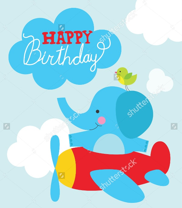 Funny Cartoon Elephant Birthday Card