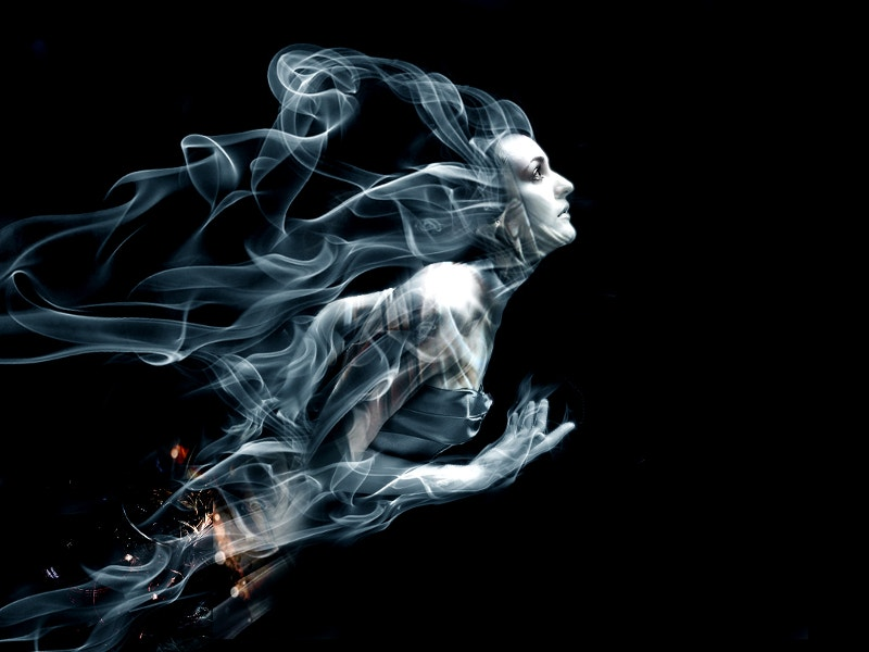 beautiful lady smoke art photography