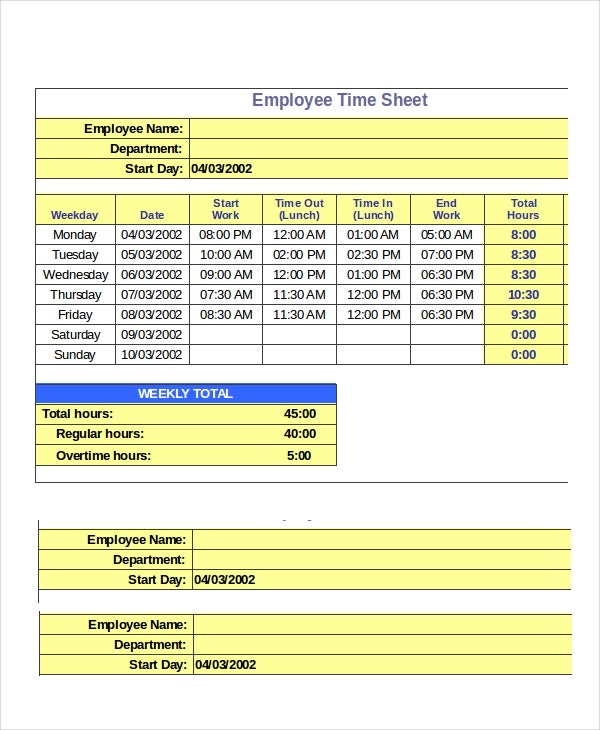 employee timesheet spreadsheet template
