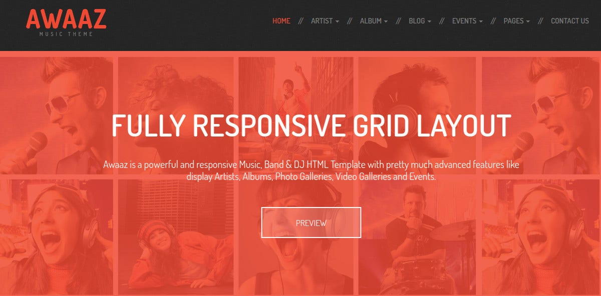 Responsive Music & Nightclub HTML5 Template $18