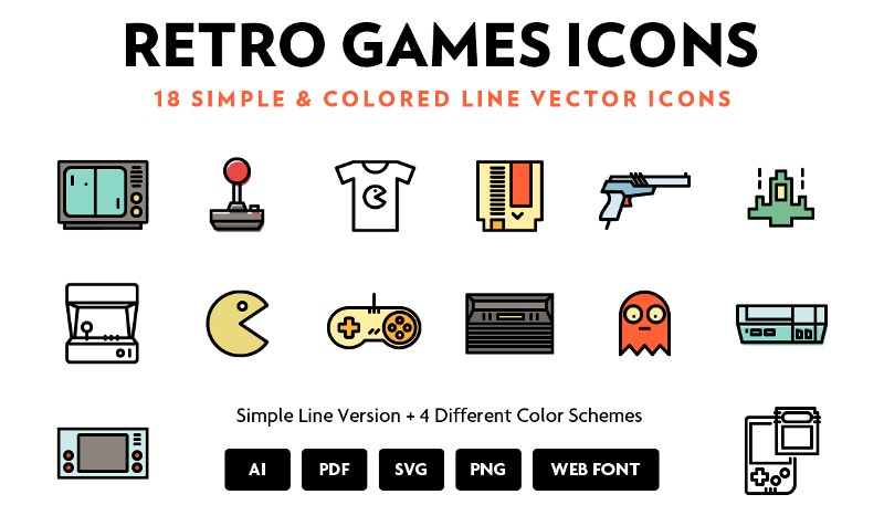 simple-retro-games-line-icons