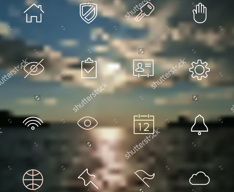 line-icons-on-blurred-background