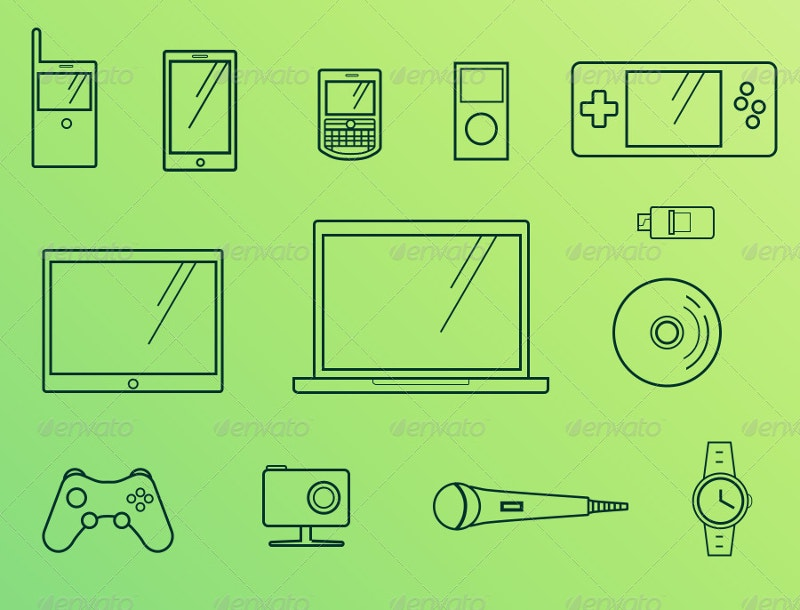 modern gadgets line icons