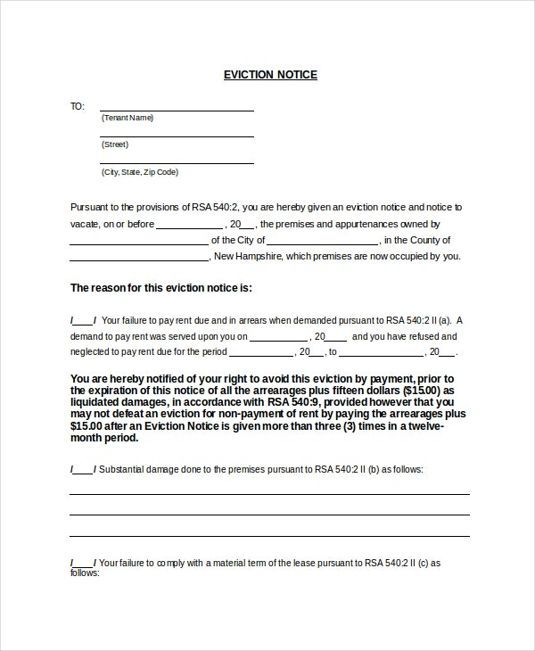 10 Two Weeks Notice Letter Examples – Eviction Notice Letter Free Download