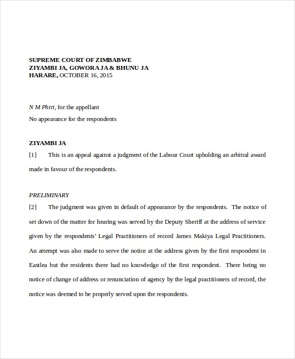 two week court notice letter example