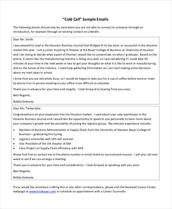 Cold email template 5 free pdf documents download free for Email cold call template