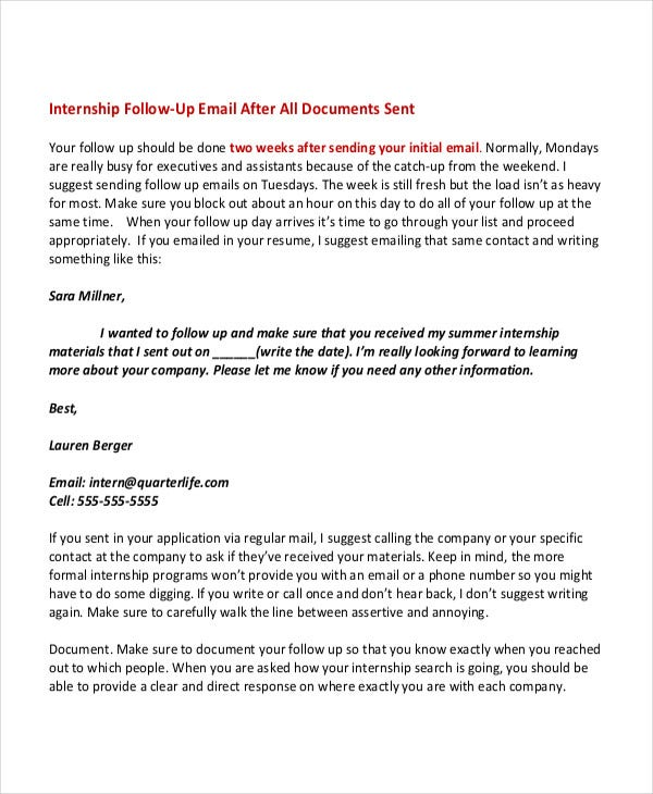 cold email template for internship