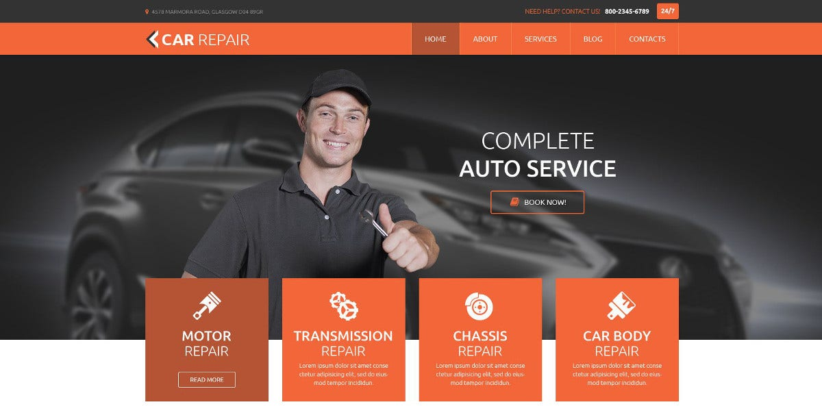 Cars & Motorcycle Repair WordPress Theme $75