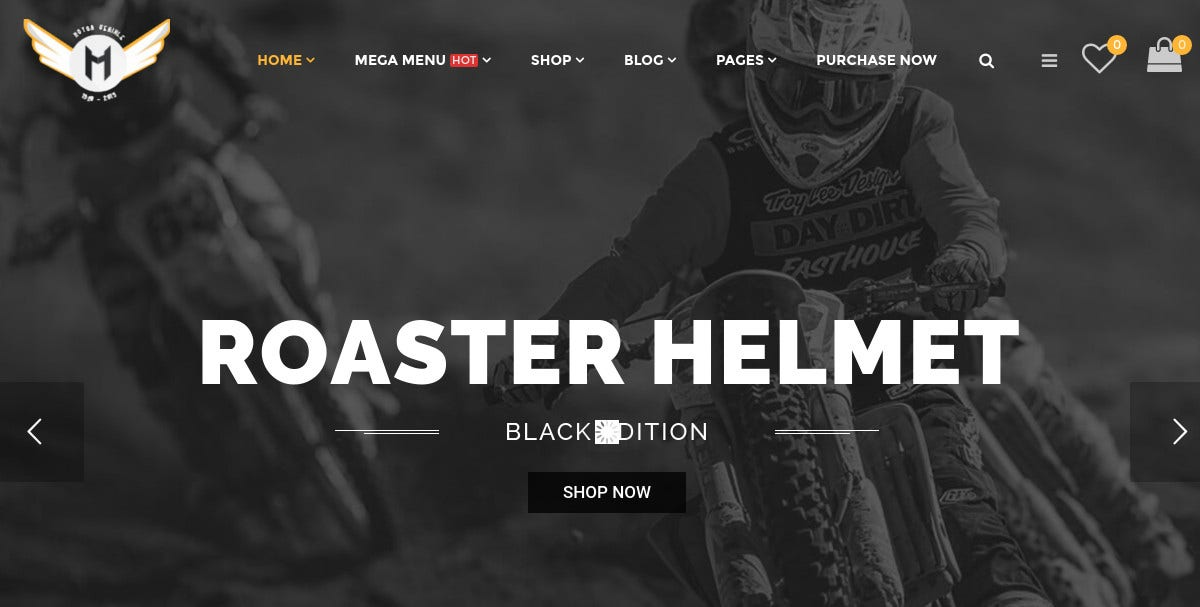 Motorcycle Online Store WordPress Theme $59
