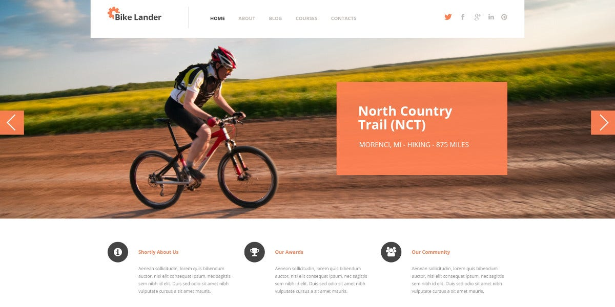 Motorcycling Club WordPress Theme $75