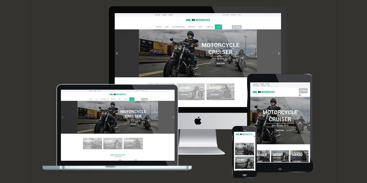 Responsive Motorcycle Shop WordPress Theme $19