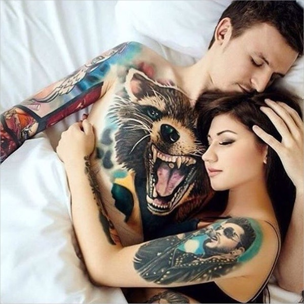 beautiful couple with fox tattoo design