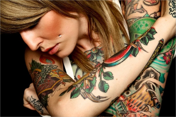 woman with colorful tattoo