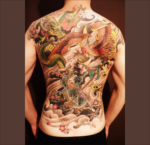 cartoon colorful tattoo design