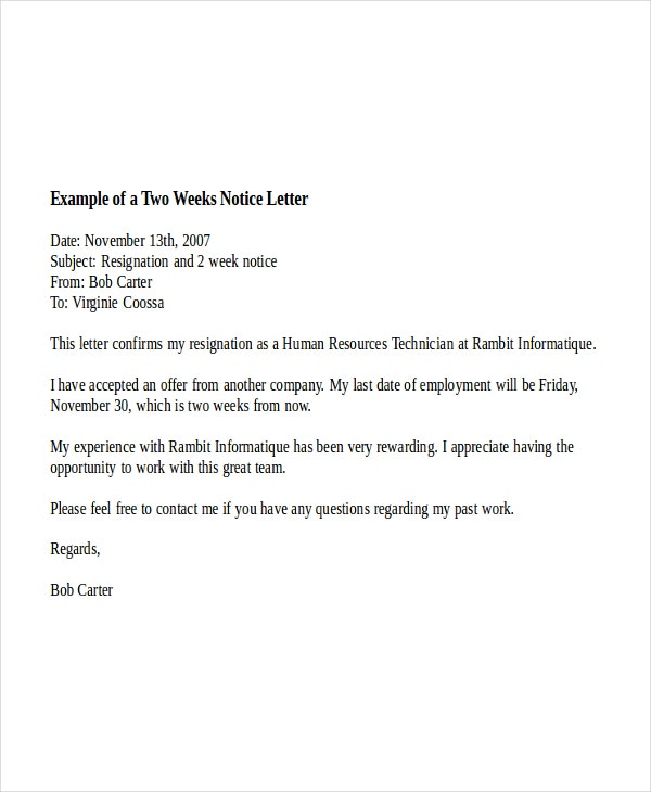 two week notice letter example. Resume Example. Resume CV Cover Letter