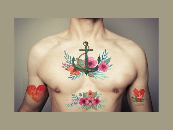 Sailor Heart Watercolor Tattoo