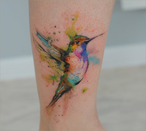 Watercolor Humming Bird Tattoo